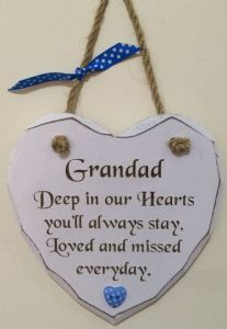 Grandad Loved and Missed Hanging Heart